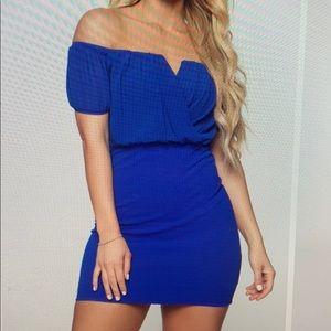 Royal blue mini off the shoulder dress